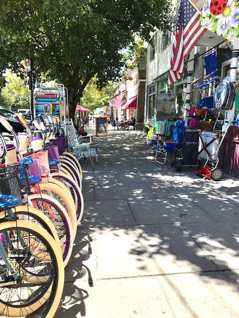 Photo of Ocean Grove downtown bicycles
